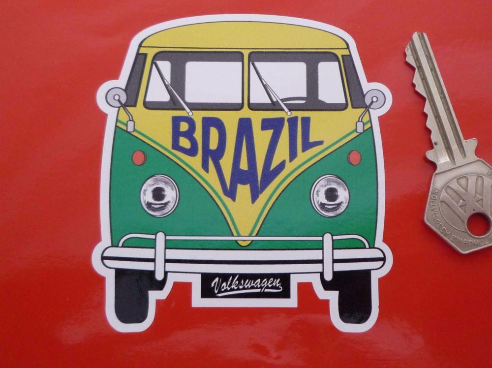 """Brazil Volkswagen Campervan Travel Sticker. 3.5""""."""