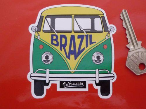 Brazil Volkswagen Campervan Travel Sticker. 3.5