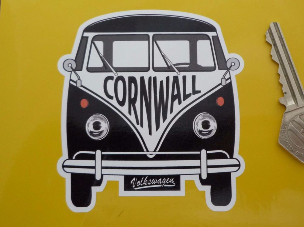 "Cornwall Volkswagen Campervan Travel Sticker. 3.5""."
