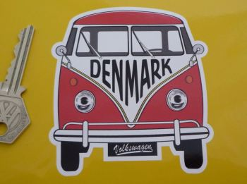 "Denmark Volkswagen Campervan Travel Sticker. 3.5""."