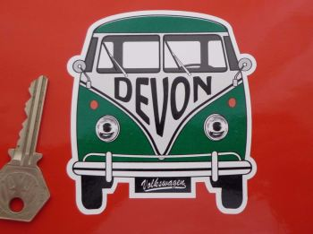 "Devon Volkswagen Campervan Travel Sticker. 3.5""."