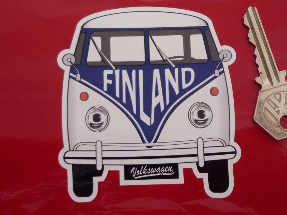 """Finland Volkswagen Campervan Travel Sticker. 3.5""""."""