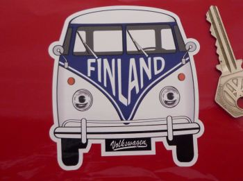 "Finland Volkswagen Campervan Travel Sticker. 3.5""."