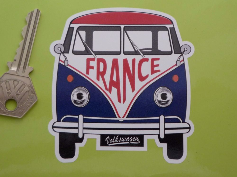 "France Volkswagen Campervan Travel Sticker. 3.5""."