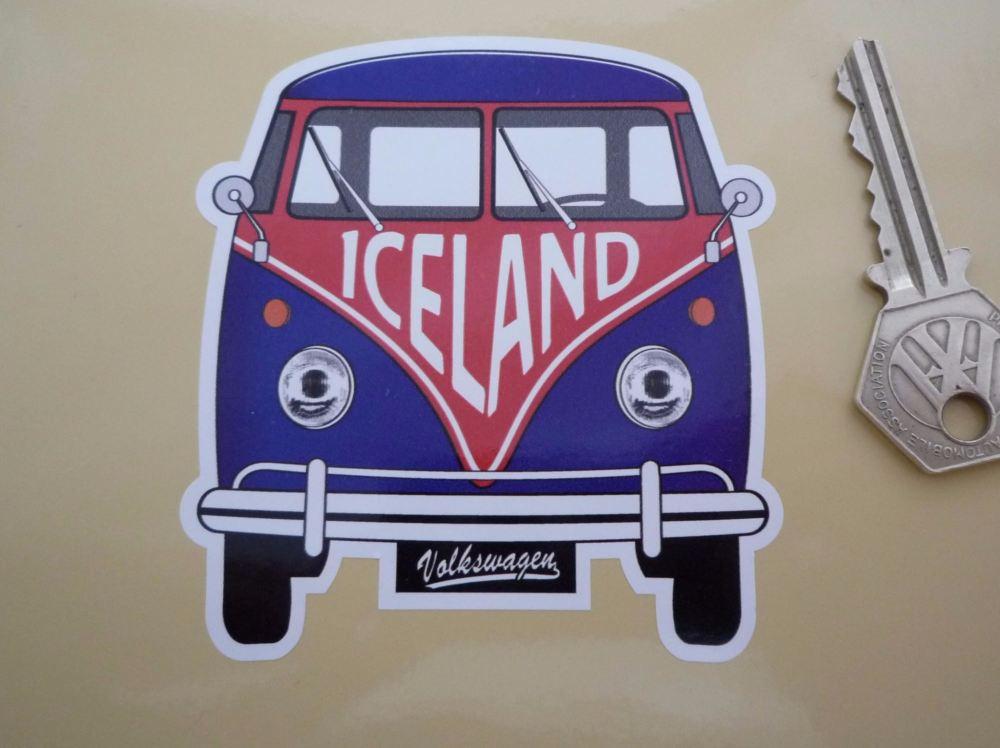 """Iceland Volkswagen Campervan Travel Sticker. 3.5""""."""