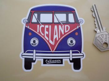 "Iceland Volkswagen Campervan Travel Sticker. 3.5""."