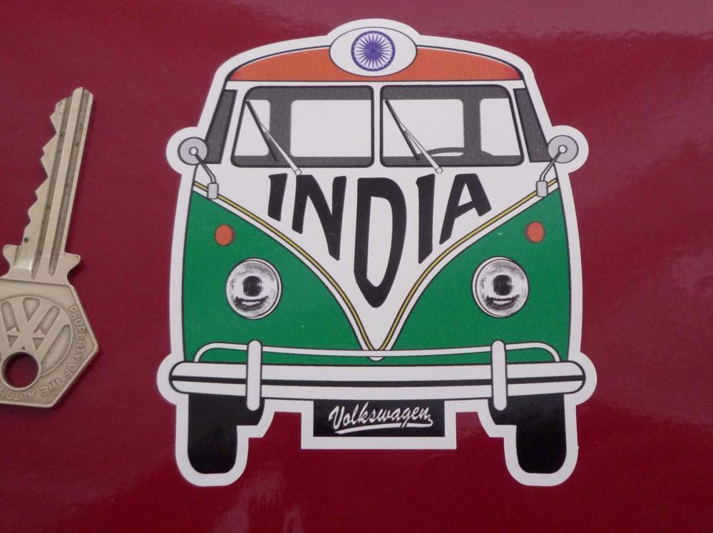 "India Volkswagen Campervan Travel Sticker. 3.5""."