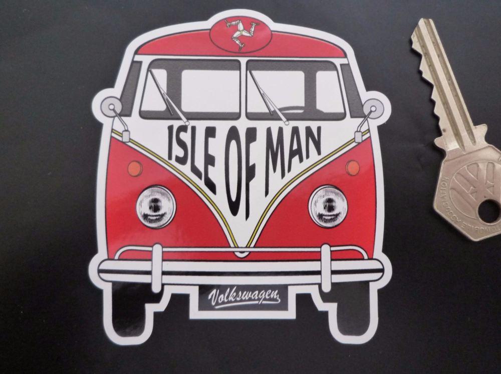 """Isle of Man Volkswagen Campervan Travel Sticker. 3.5""""."""