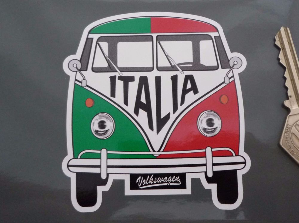 "Italy Volkswagen Campervan Travel Sticker. 3.5""."
