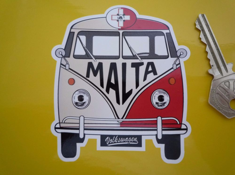 """Malta Volkswagen Campervan Travel Sticker. 3.5""""."""