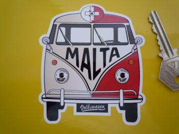 "Malta Volkswagen Campervan Travel Sticker. 3.5""."