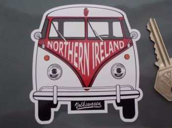 "Northern Ireland Volkswagen Campervan Travel Sticker. 3.5""."