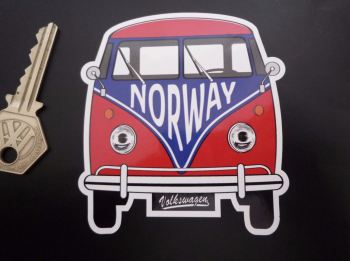 "Norway Volkswagen Campervan Travel Sticker. 3.5""."