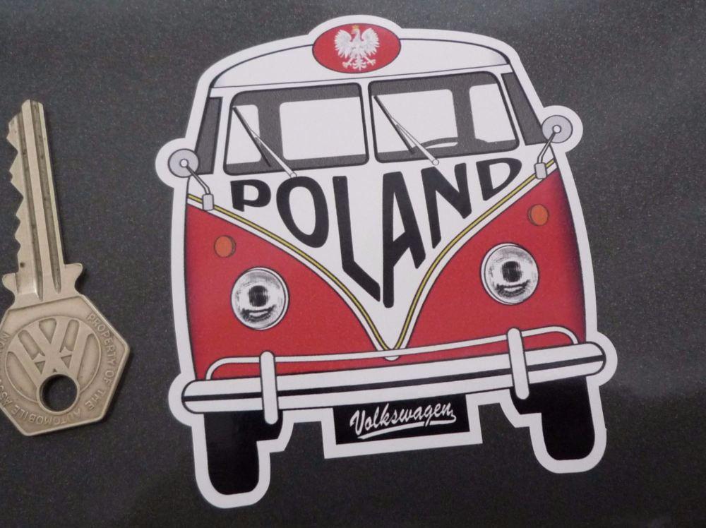 """Poland Volkswagen Campervan Travel Sticker. 3.5""""."""