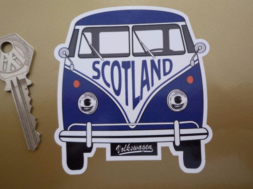 """Scotland Volkswagen Campervan Travel Sticker. 3.5""""."""