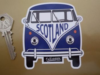 "Scotland Volkswagen Campervan Travel Sticker. 3.5""."