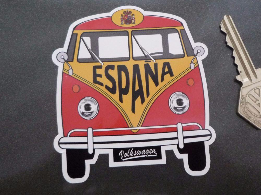 "Spain Volkswagen Campervan Travel Sticker. 3.5""."