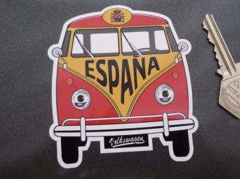 "Spain Volkswagen Campervan Travel Sticker. 3.5""."