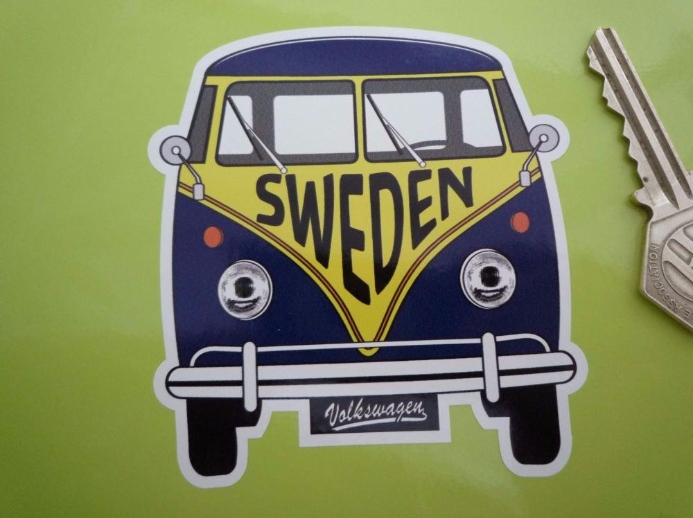 "Sweden Volkswagen Campervan Travel Sticker. 3.5""."