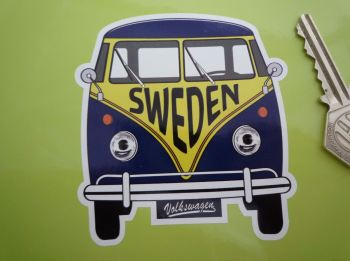 "Sweden Volkswagen Campervan Travel Sticker. 3.5""."