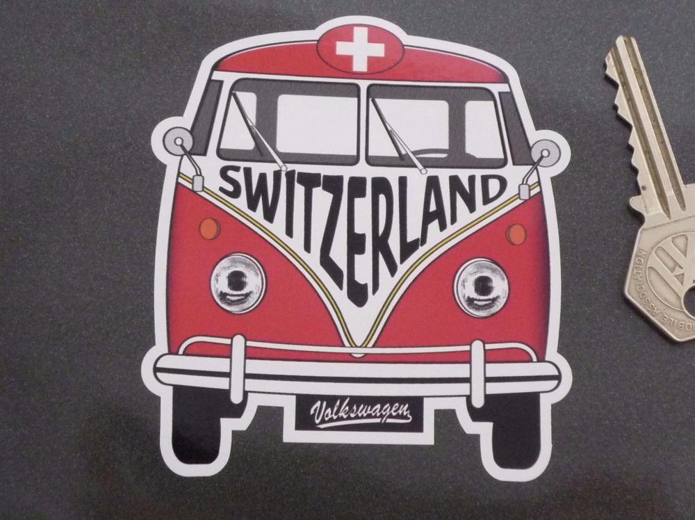 """Switzerland Volkswagen Campervan Travel Sticker. 3.5""""."""
