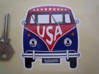 """USA Volkswagen Campervan Travel Sticker. 3.5""""."""