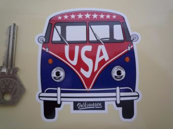 "USA Volkswagen Campervan Travel Sticker. 3.5""."