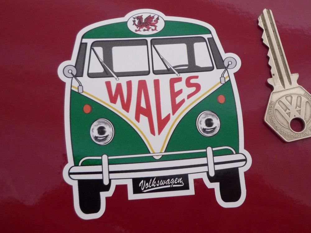 "Wales Volkswagen Campervan Travel Sticker. 3.5""."