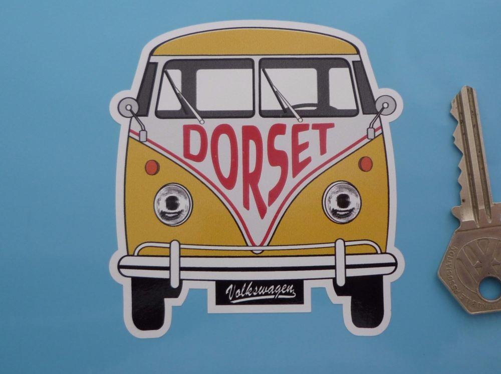 """Dorset Volkswagen Campervan Travel Sticker. 3.5""""."""