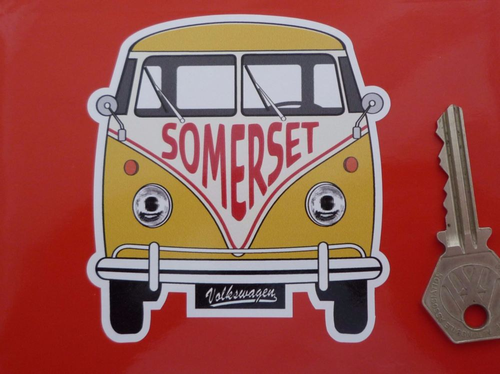 "Somerset Volkswagen Campervan Travel Sticker. 3.5""."