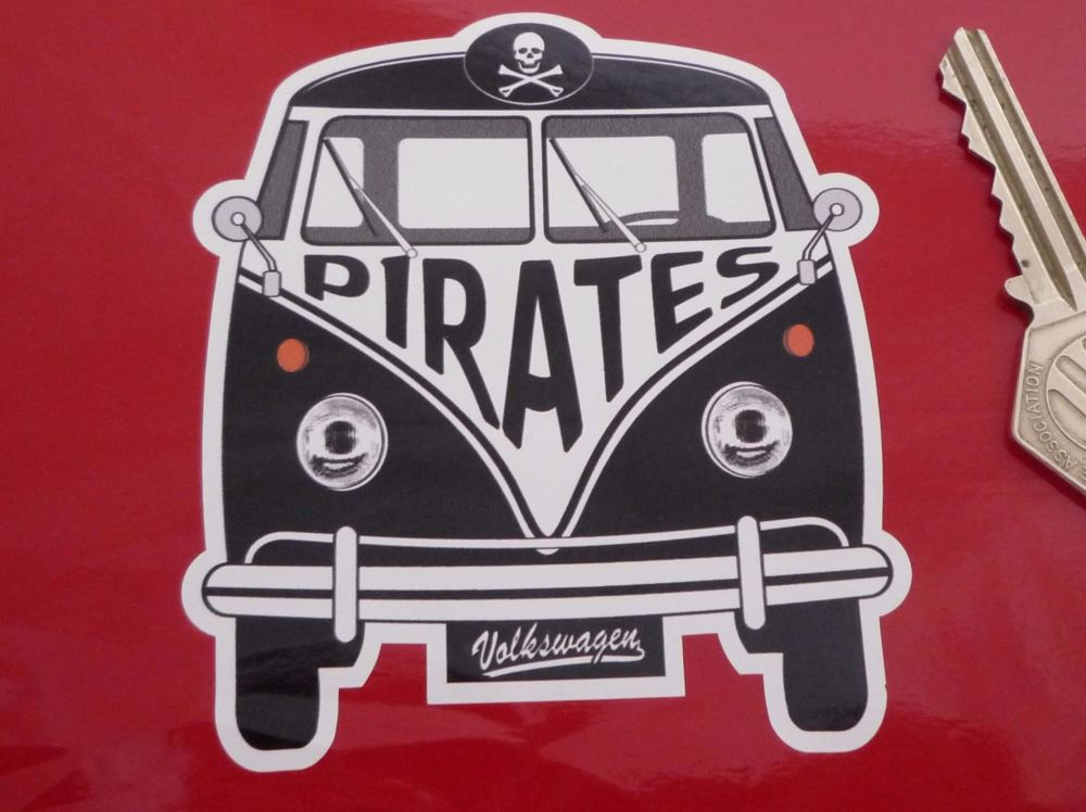 "Pirates Volkswagen Campervan Travel Sticker. 3.5""."