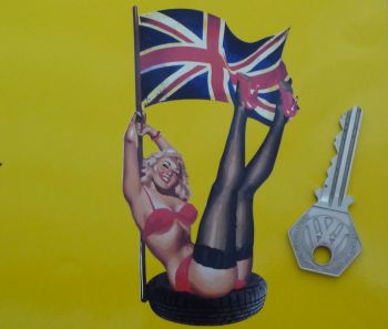"Pin-Up Girl in Tyre with Union Jack Flag Sticker. 5""."
