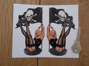 "Pin-Up Girl in Tyre with Jolly Roger Flag Stickers. 5"" Pair."