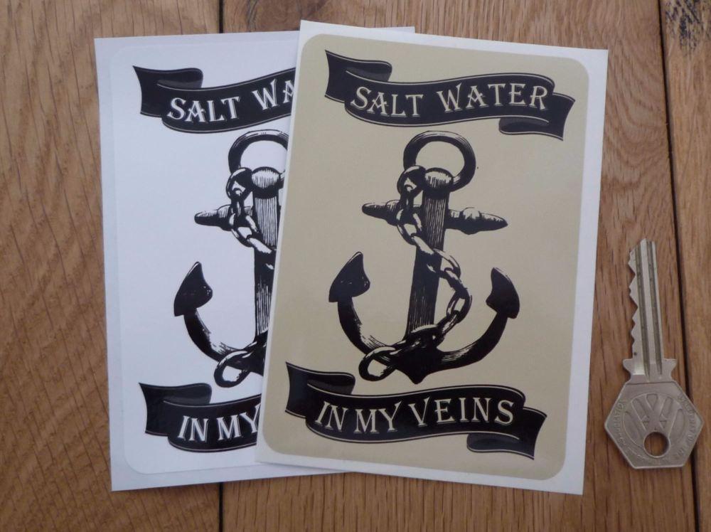 """Salt Water In My Veins Boating Sticker. 4.75""""."""