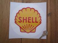 Shell Classic Logo in White Circle Sticker. 7