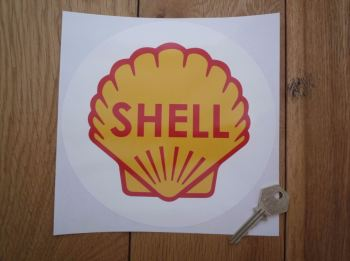"""Shell Classic Logo in White Circle Sticker. 7"""" or 8""""."""