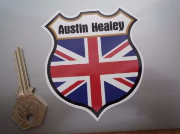 "Austin Healey Union Jack Shield Sticker. 3""."