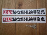 Yoshimura Black, White, & Red, Text & Logo Oblong Stickers. 10