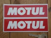 Motul Later Style Plain White on Red Oblong Stickers. 4