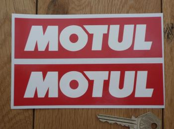 "Motul Later Style Plain White on Red Oblong Stickers. 4"" or 6"" Pair."