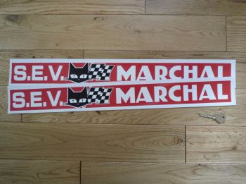 "SEV Marchal Red, White, & Black Oblong Stickers. 21.5"" Pair."