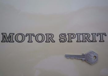"Shell Motor Spirit Outlined Text Stickers. 8"" or 12"" Pair."