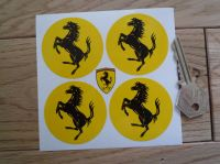 Ferrari Circular Prancing Horse Stickers. Set of 4. 22mm, 50mm, or 60mm.