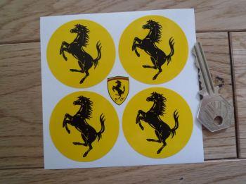 Ferrari Circular Prancing Horse Stickers. Set of 4. Various Sizes.