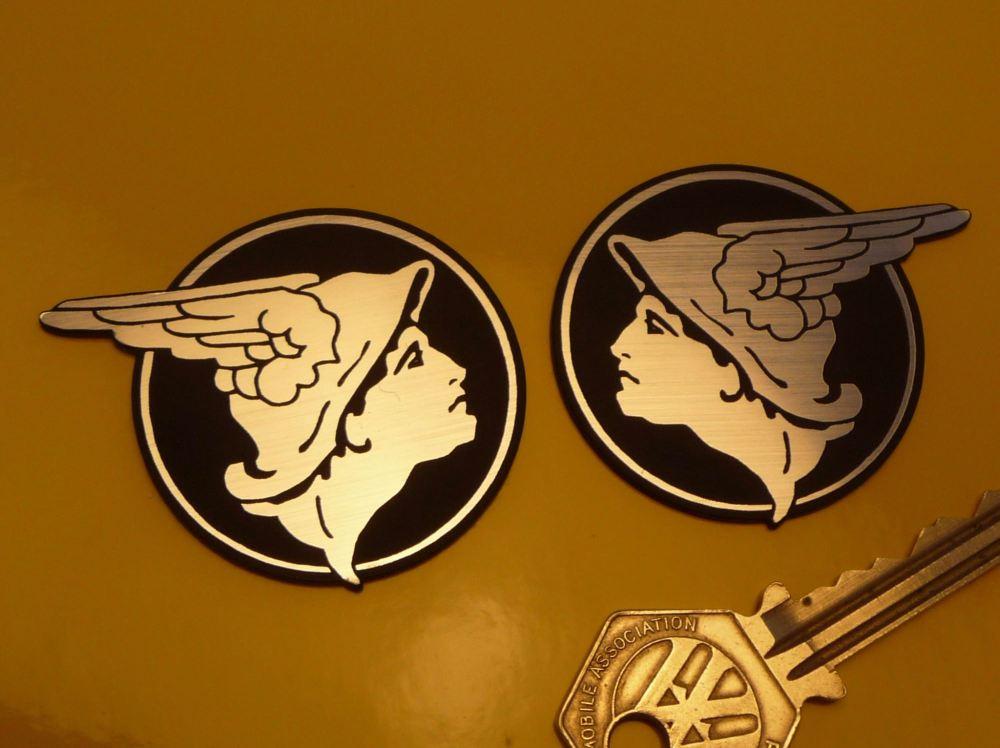"Mercury Messenger of the Gods Self Adhesive Handed Car Badges. 2"" Pair."