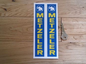 "Metzeler Bike Tyres Blue, Yellow, & White Fork Slider Stickers. 7.75"" Pair."
