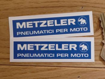 """Metzeler Pneumatici Per Moto Oblong Stickers. 4"""" Pair."""
