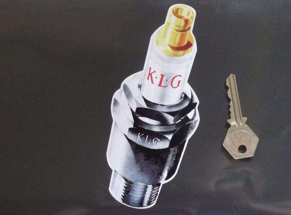 "K.L.G Spark Plug Shaped Sticker. 6.25""."