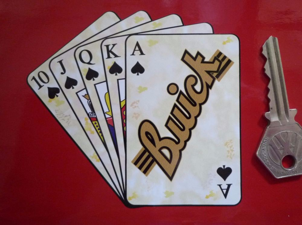 "Buick Royal Flush Playing Cards Style Sticker. 4""."