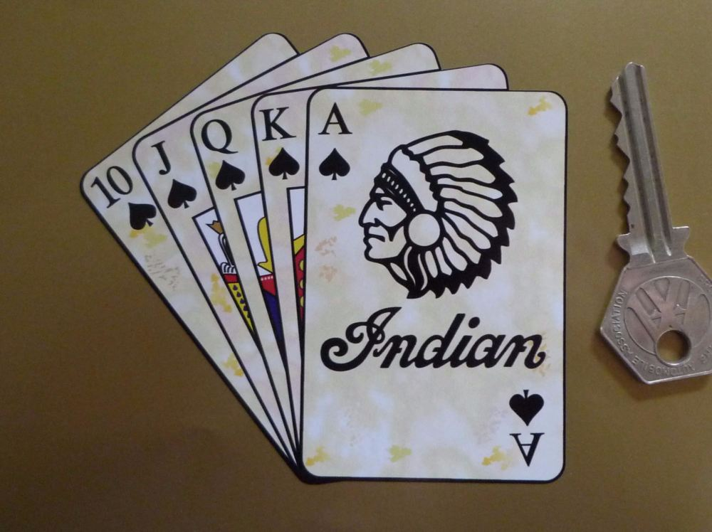 "Indian Royal Flush Playing Cards Style Sticker. 4""."